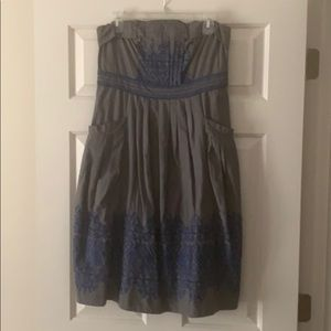 Blue & gray strapless embroidered dress